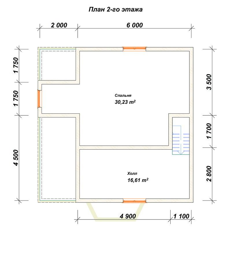 План 2-го этажа - Дом из бруса 8х8 с ломаной крышей