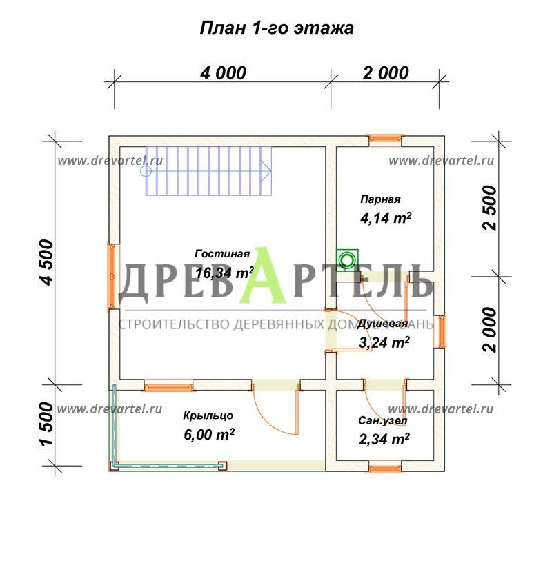 План 1-го этажа - Баня 6х6 с мансардой из бруса