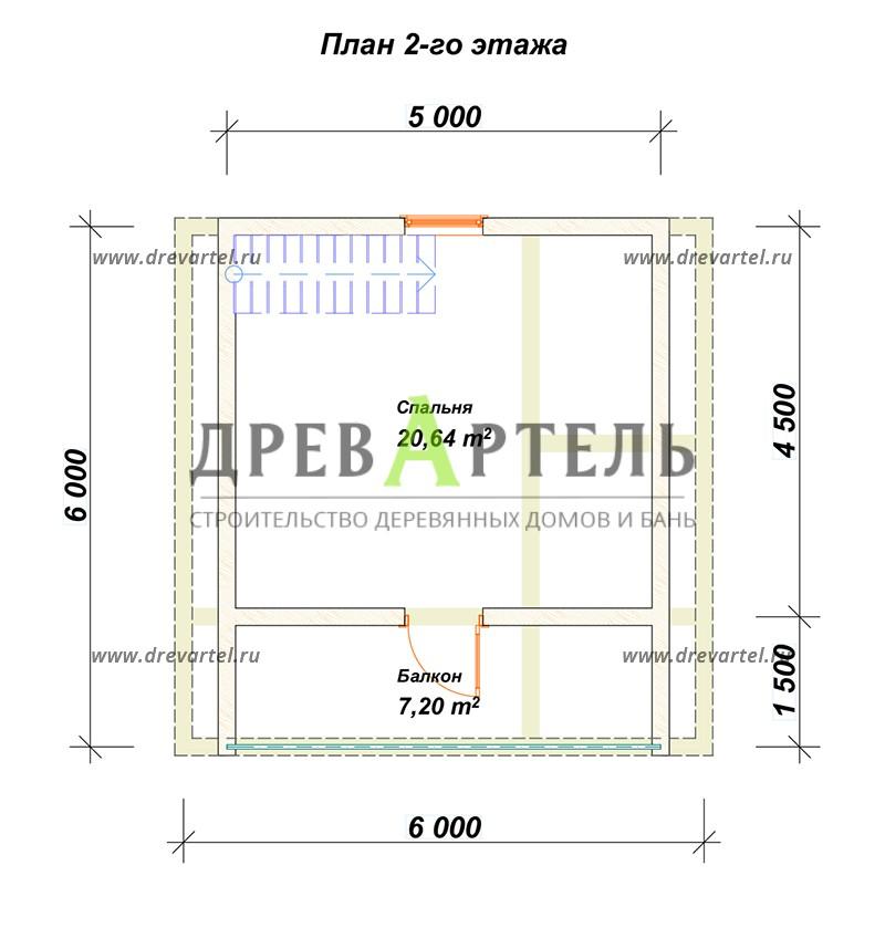 План 2-го этажа - Баня 6х6 с мансардой из бруса