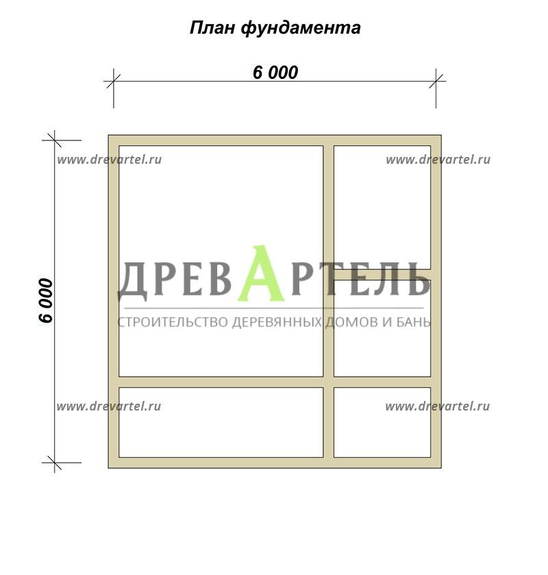 План ленточного фундамента - Баня 6х6 с мансардой из бруса