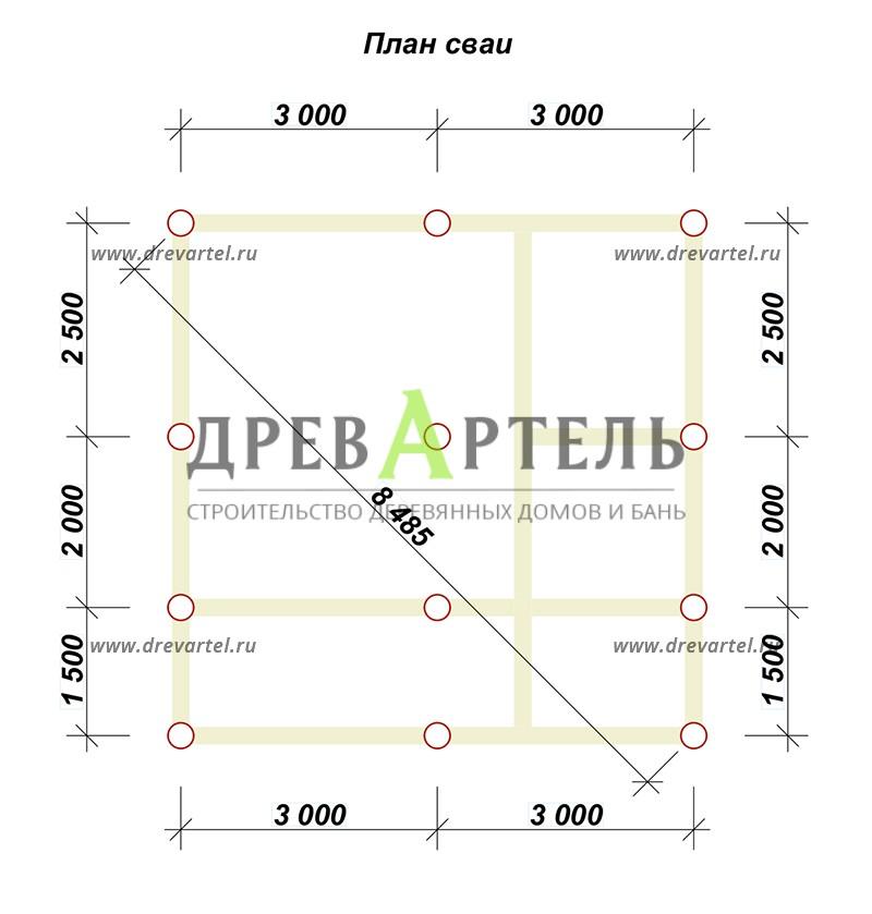 План свайного фундамента - Баня 6х6 с мансардой из бруса