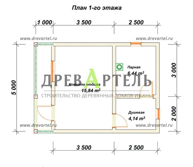 План 1-го этажа - Баня 5 на 7 из бруса