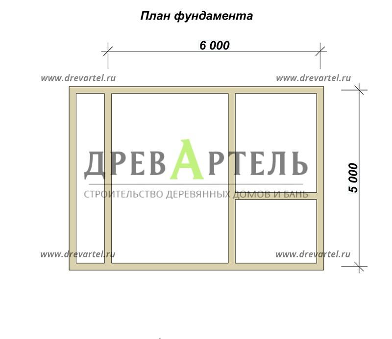 План ленточного фундамента - Баня 5 на 7 из бруса