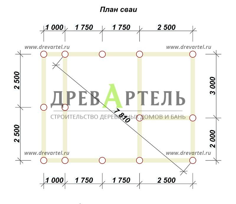 План свайного фундамента - Баня 5 на 7 из бруса