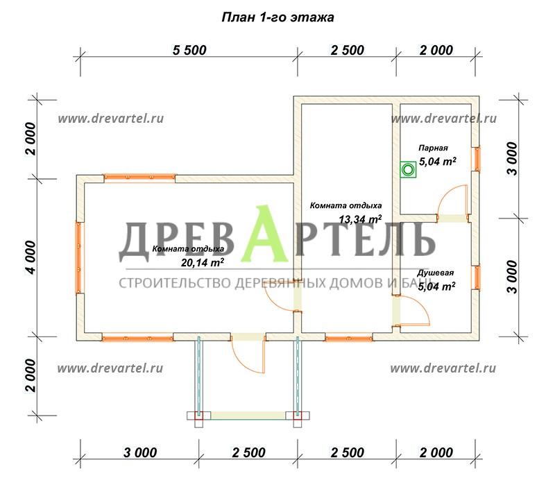 План 1-го этажа - Баня 4х10 из бруса