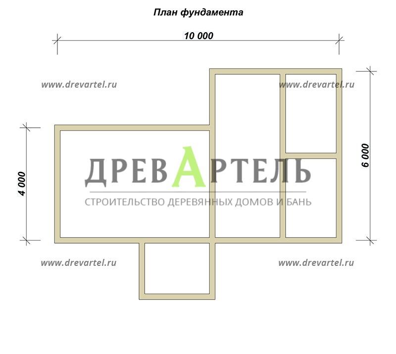 План ленточного фундамента - Баня 4х10 из бруса