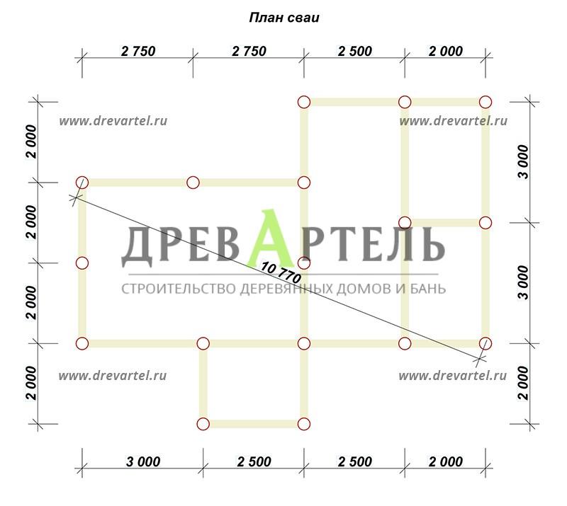 План свайного фундамента - Баня 4х10 из бруса