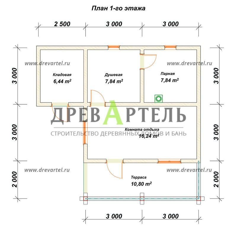 План 1-го этажа - Баня из бревна 8х8 с террасой