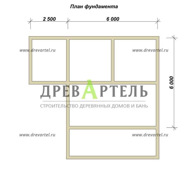 План ленточного фундамента - Баня из бревна 8х8 с террасой