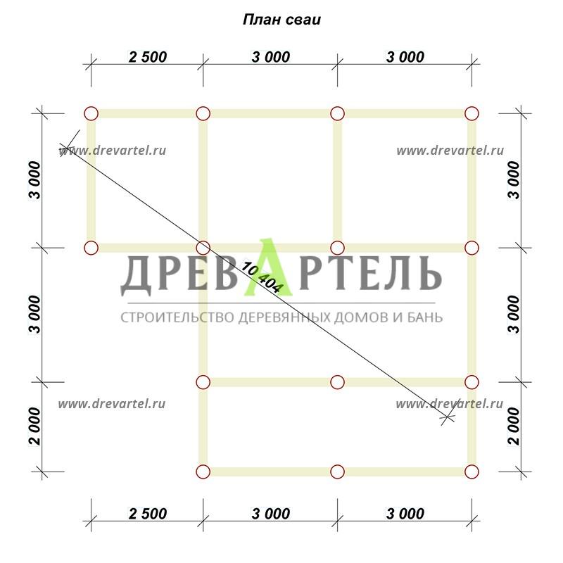 План свайного фундамента - Баня из бревна 8х8 с террасой