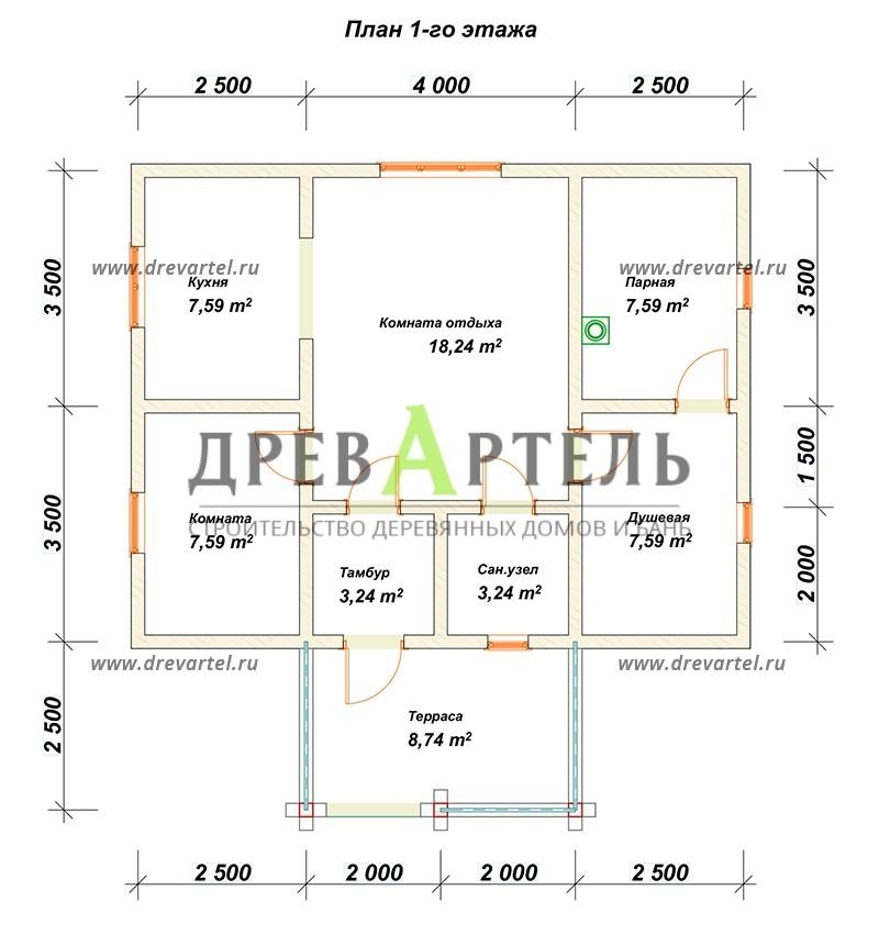 План 1-го этажа - Сруб бани 6х6 из бревна