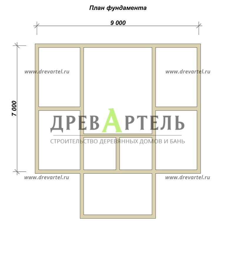 План ленточного фундамента - Сруб бани 6х6 из бревна