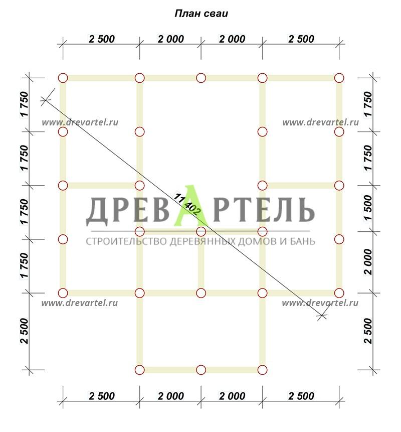 План свайного фундамента - Сруб бани 6х6 из бревна