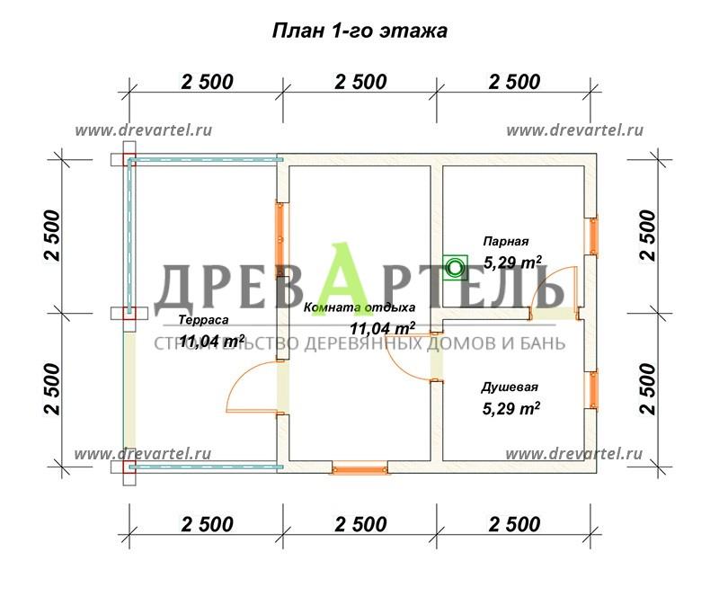 План 1-го этажа - Баня из бруса 5х7 с террасой