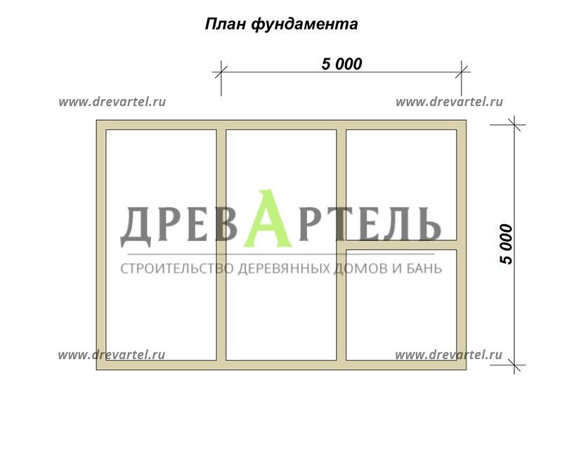 План ленточного фундамента - Баня из бруса 5х7 с террасой