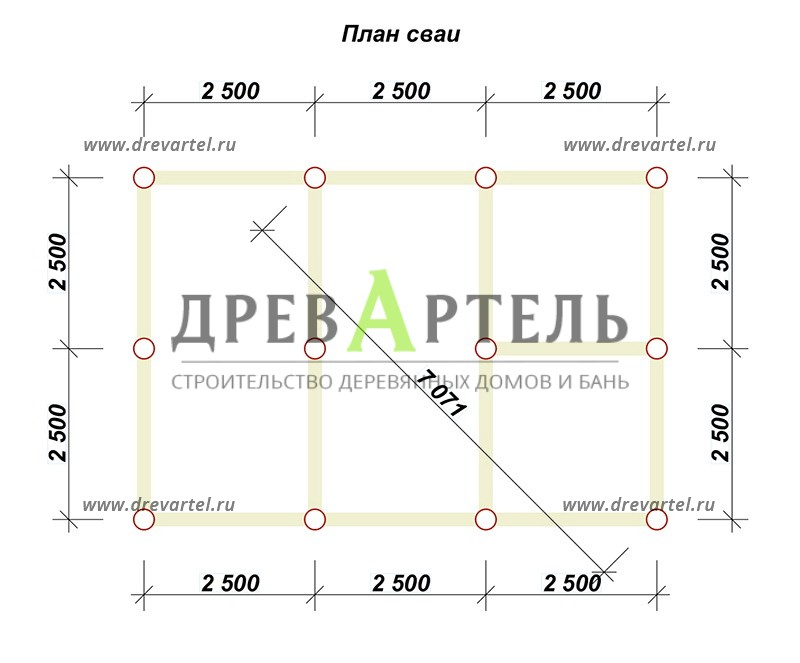 План свайного фундамента - Баня из бруса 5х7 с террасой