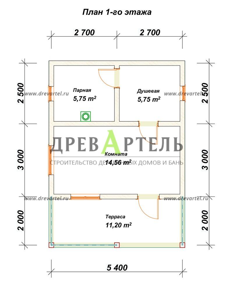 План 1-го этажа - Баня из бруса 5х5