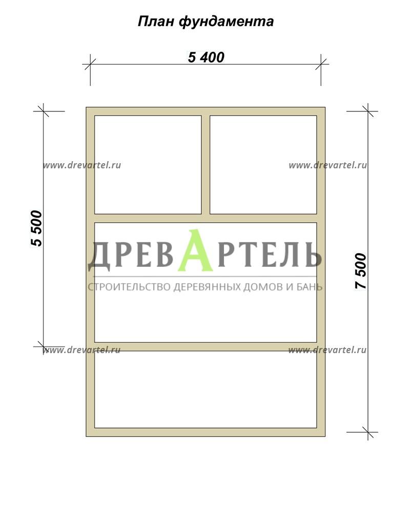 План ленточного фундамента - Баня из бруса 5х5