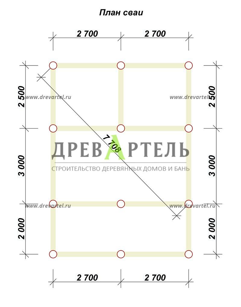План свайного фундамента - Баня из бруса 5х5