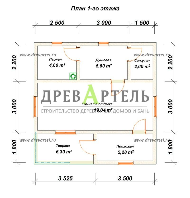 План 1-го этажа - Одноэтажная баня 5х7 из бруса
