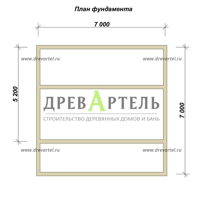 План ленточного фундамента - Одноэтажная баня 5х7 из бруса