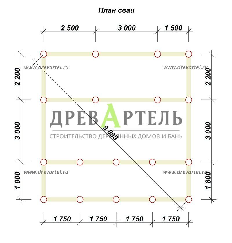 План свайного фундамента - Одноэтажная баня 5х7 из бруса