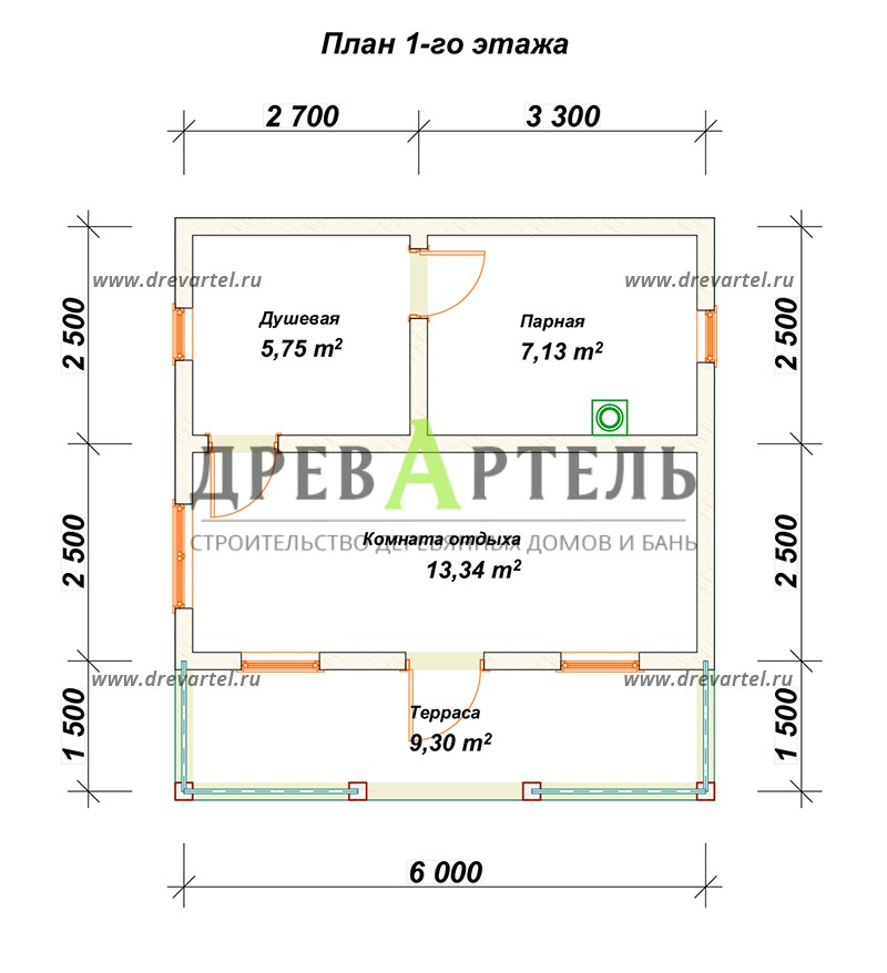 План 1-го этажа - Баня из бруса 5х6 с верандой