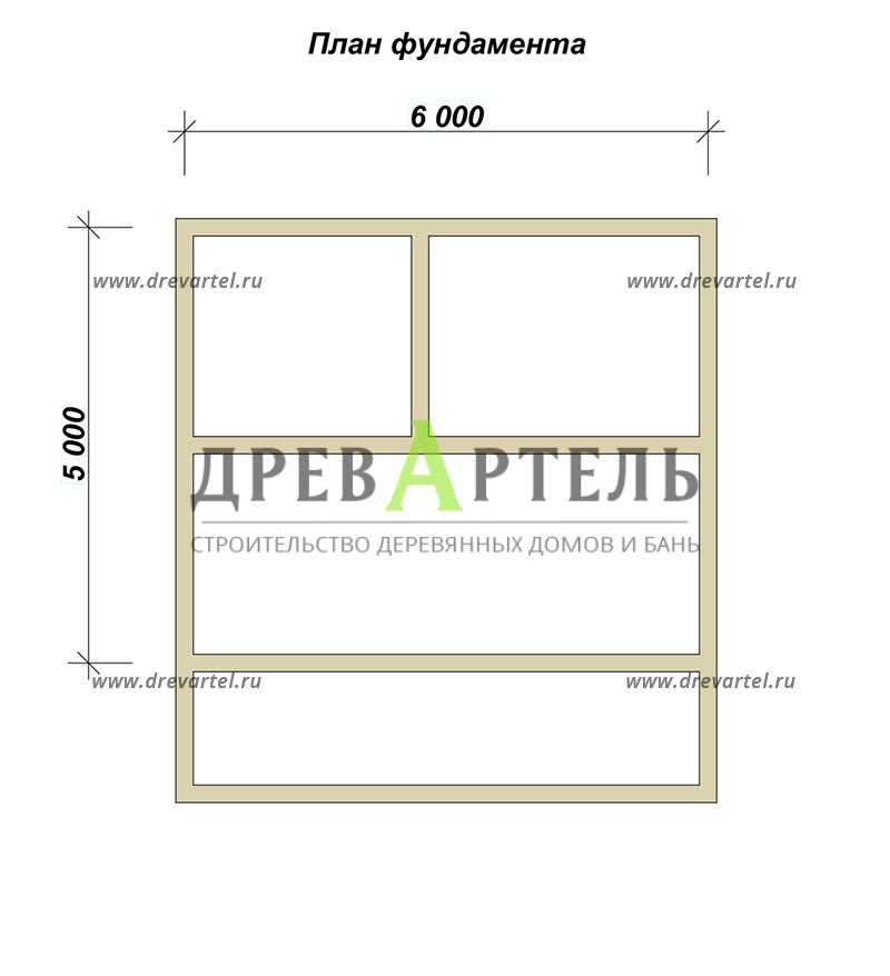 План ленточного фундамента - Баня из бруса 5х6 с верандой