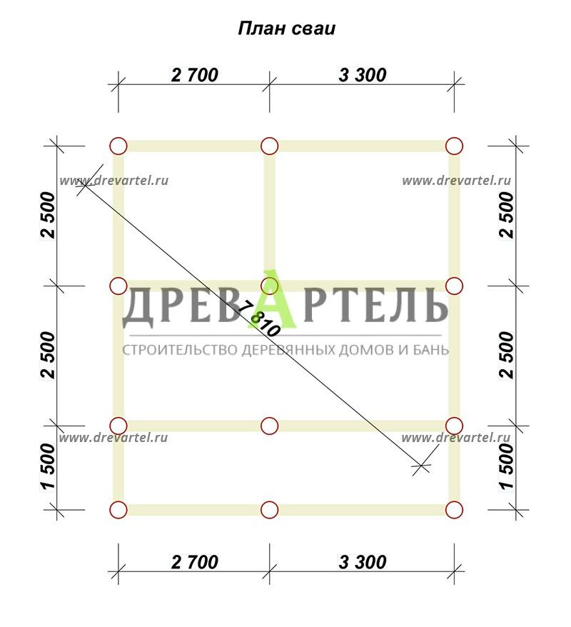 План свайного фундамента - Баня из бруса 5х6 с верандой