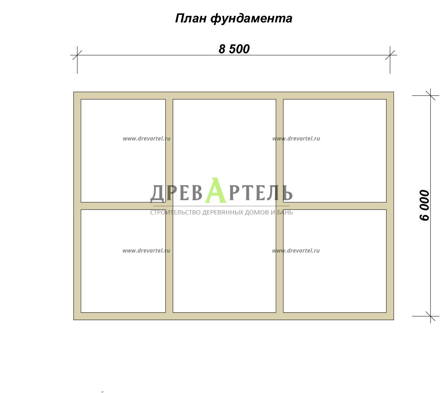 План ленточного фундамента - Одноэтажная баня 6х8 из профилированного бруса