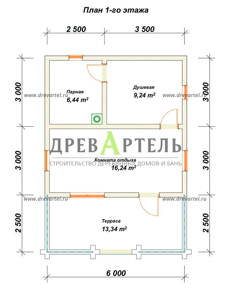 План 1-го этажа - Баня из бревна 6 на 8 с террасой
