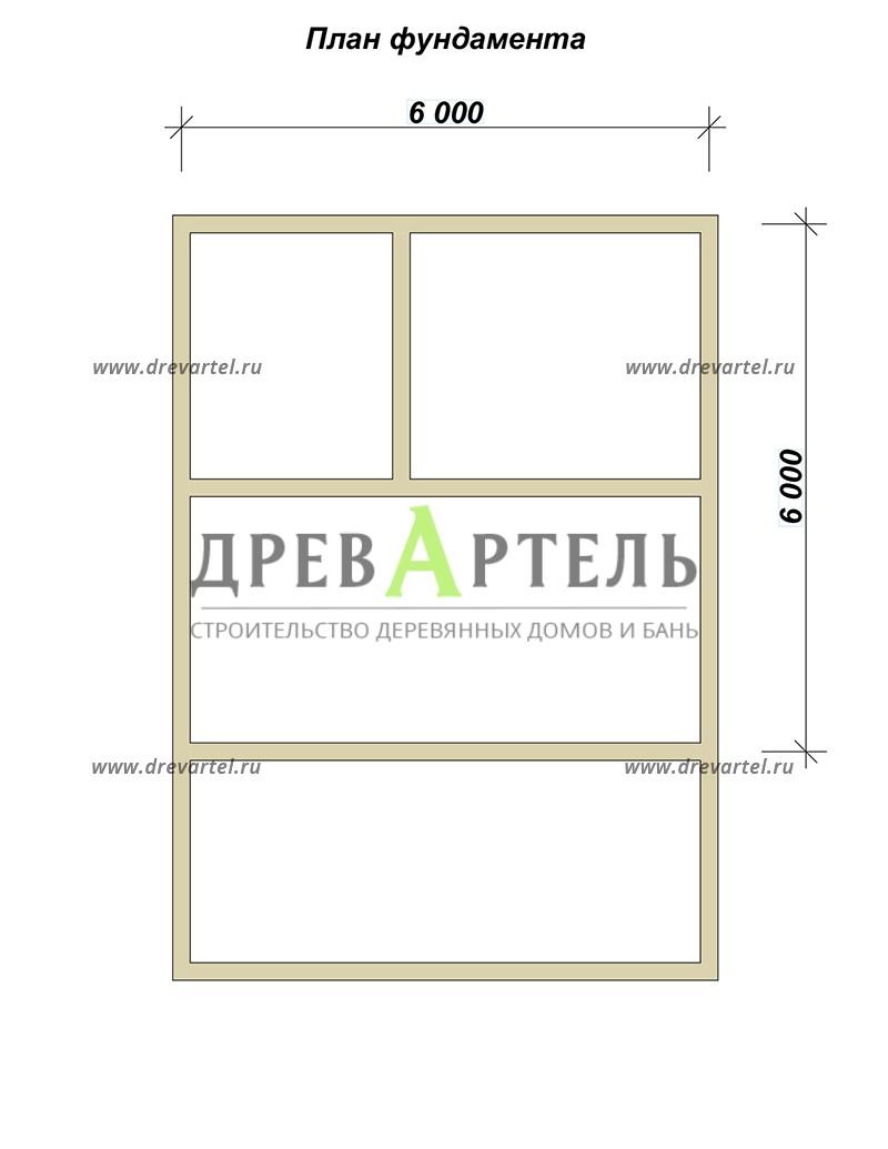План ленточного фундамента - Баня 6х6 из бруса с террасой