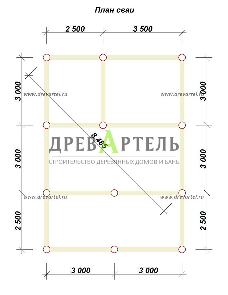 План свайного фундамента - Баня из бревна 6 на 8 с террасой