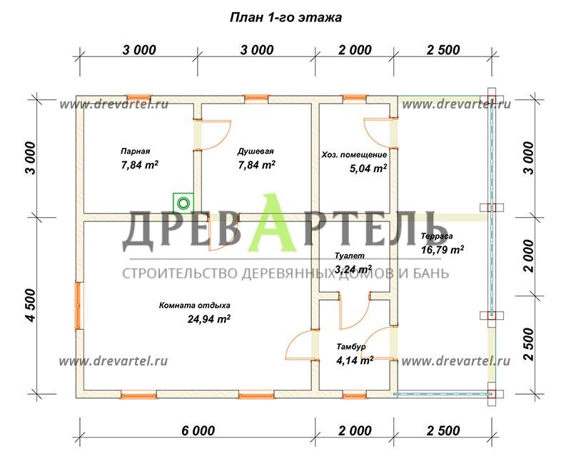План 1-го этажа - Баня 7х10 из бруса с террасой