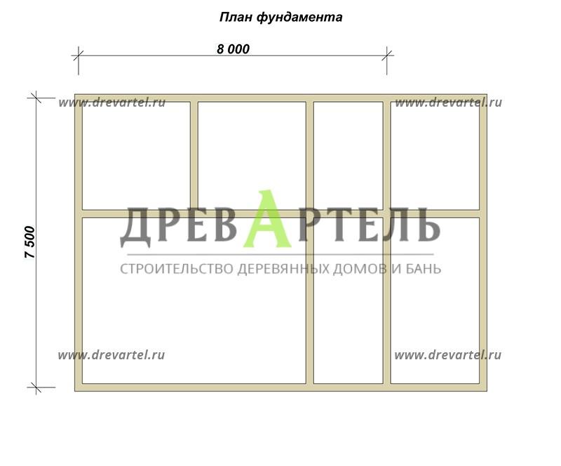План ленточного фундамента - Баня 7х10 из бруса с террасой