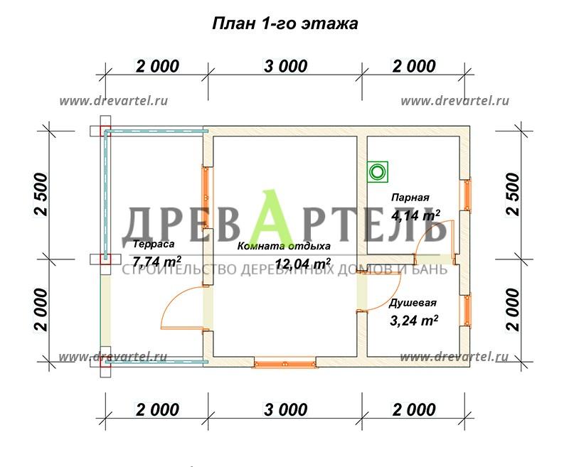 План 1-го этажа - Баня из бревна 4х7 м