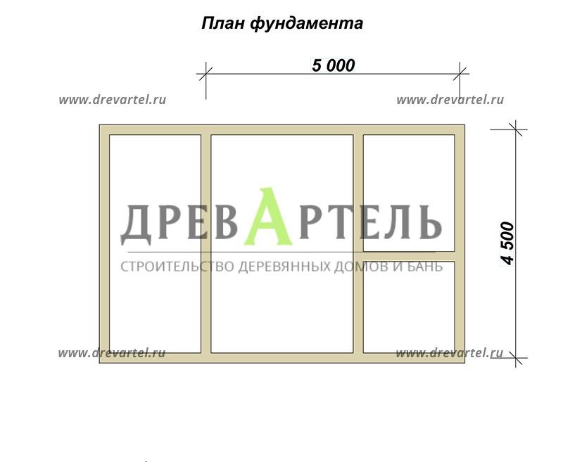 План ленточного фундамента - Баня из бревна 4х7 м