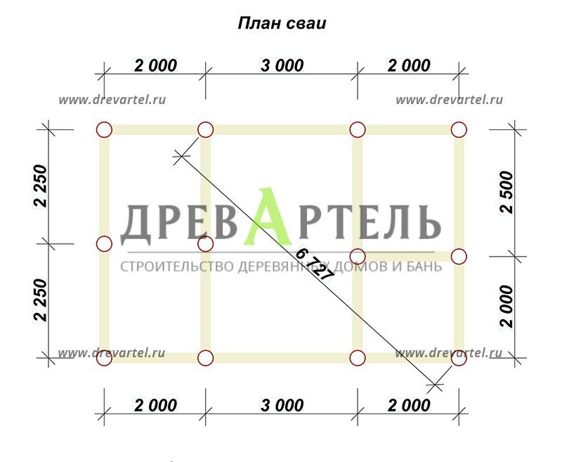 План свайного фундамента - Баня 4х7 из бруса