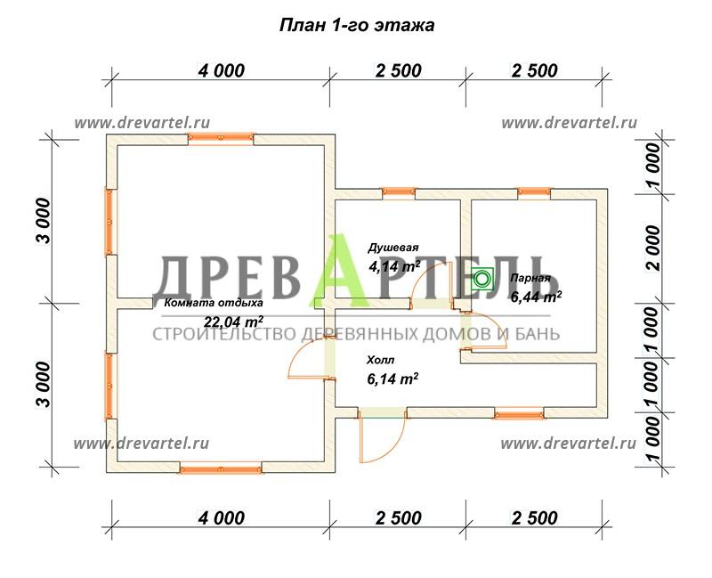 План 1-го этажа - Одноэтажная баня 6х6 из профилированного бруса