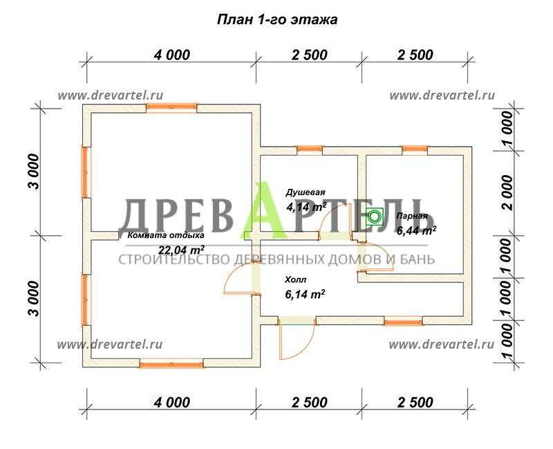 План 1-го этажа - Сруб бани 6х9 из бревна