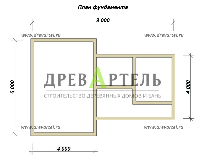 План ленточного фундамента - Одноэтажная баня 6х6 из профилированного бруса