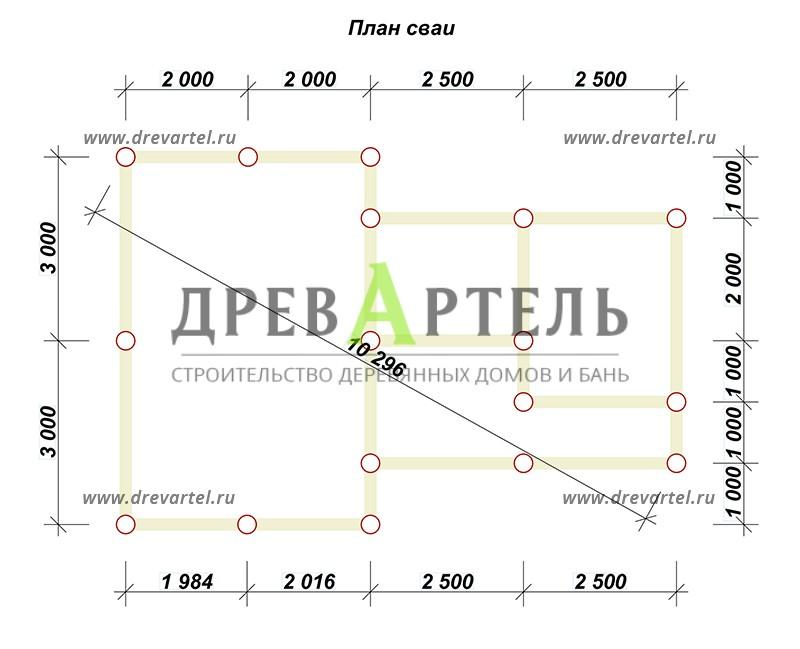 План свайного фундамента - Сруб бани 6х9 из бревна