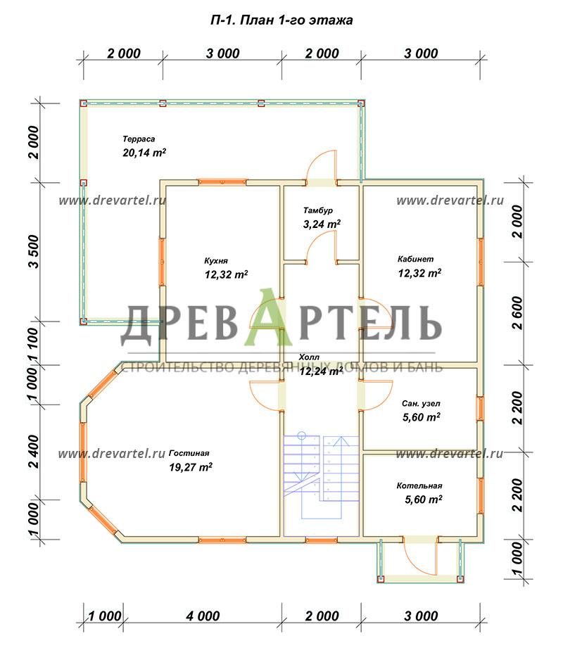 План 1-го этажа - Двухэтажный дом из бревна 9х10