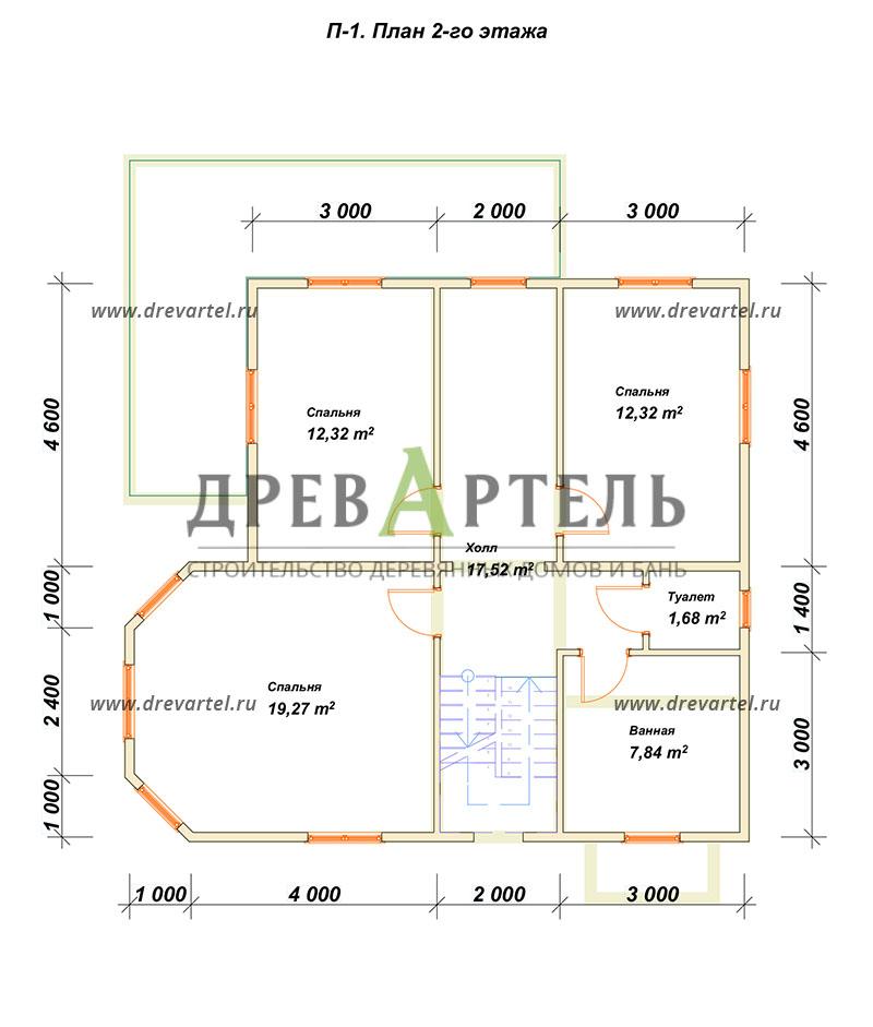План 2-го этажа - Двухэтажный дом из бревна 9х10