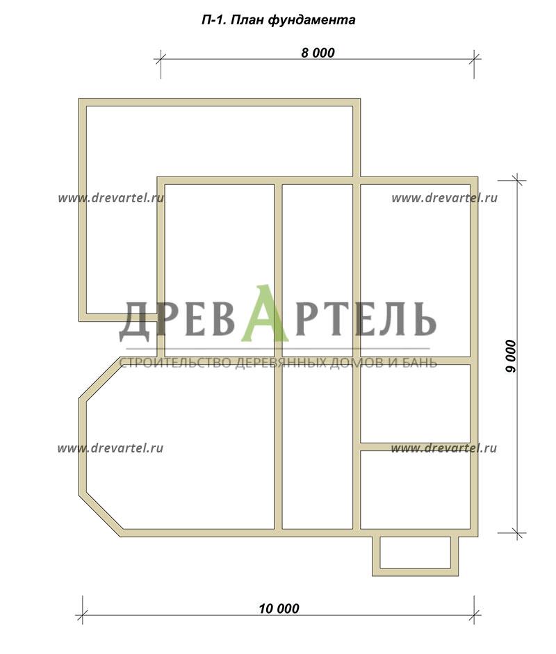 План ленточного фундамента - Двухэтажный дом из бревна 9х10