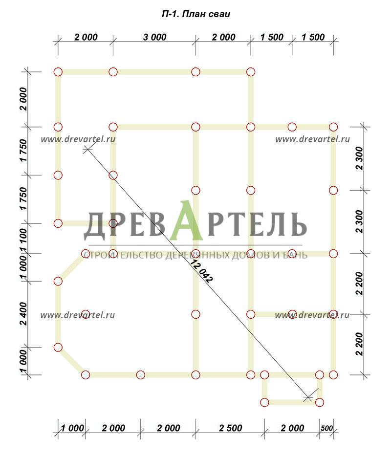 План свайного фундамента - Двухэтажный дом из бревна 9х10