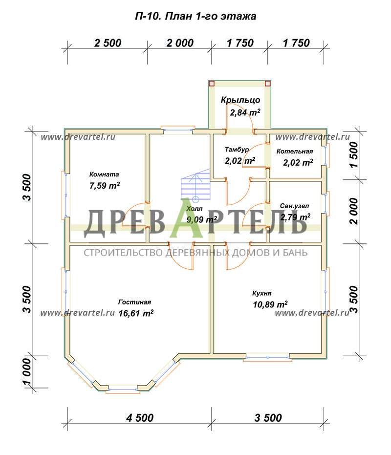 План 1-го этажа - Дом из бруса 7х8 с эркером