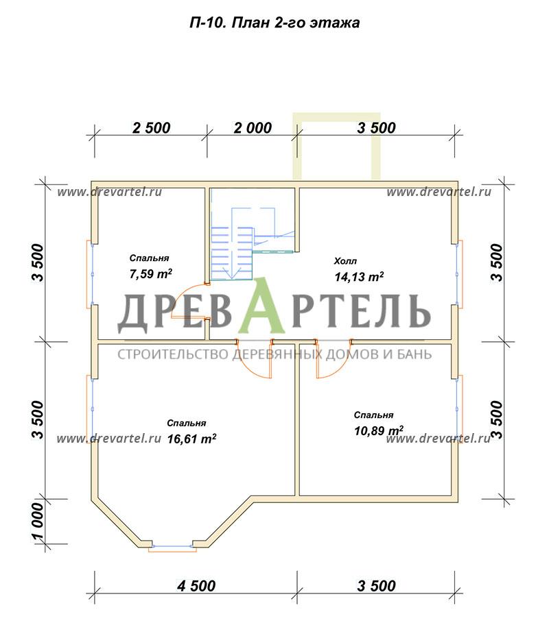 План 2-го этажа - Дом из бруса 7х8 с эркером