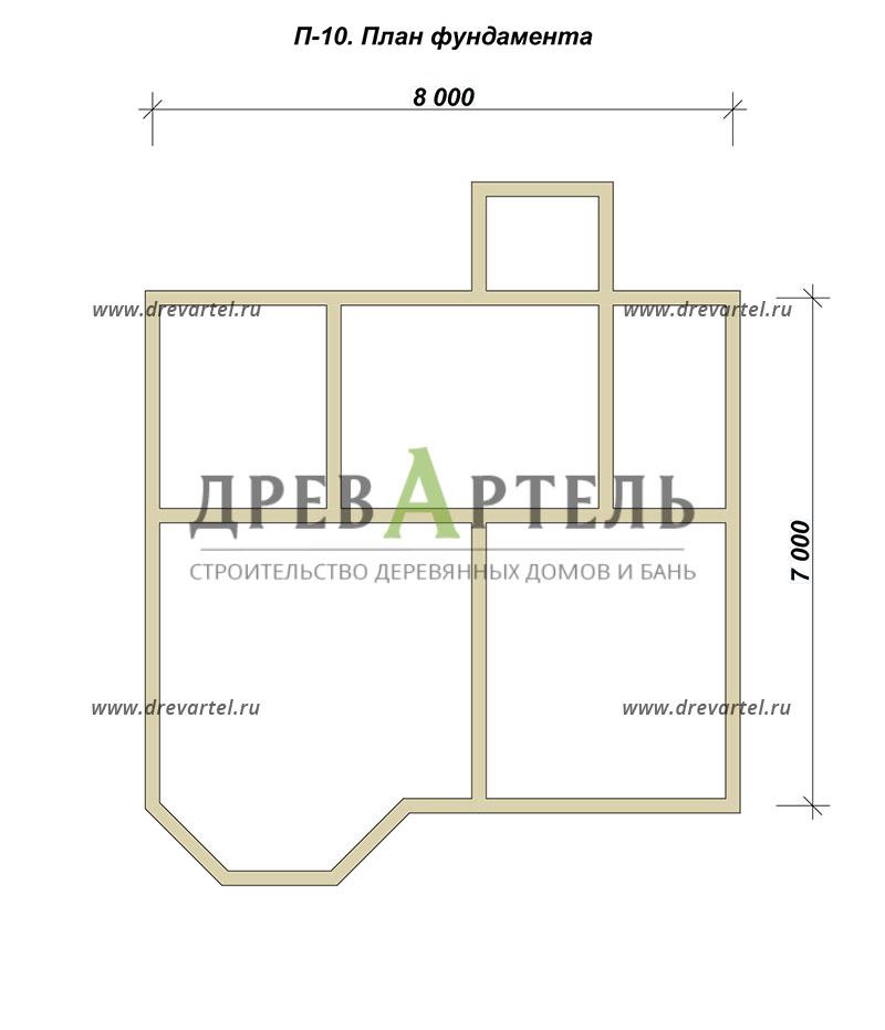 План ленточного фундамента - Дом из бруса 7х8 с эркером