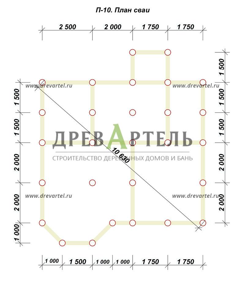 План свайного фундамента - Дом из бруса 7х8 с эркером